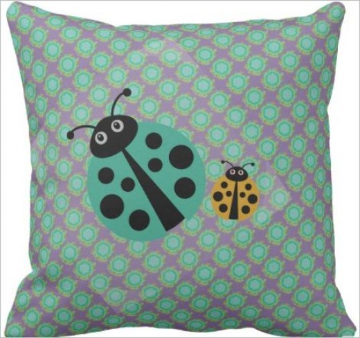 Cool graphic art on pillow for kids.
