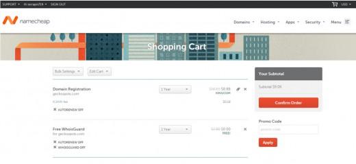 screenshot of my cart at Namecheap during checkout