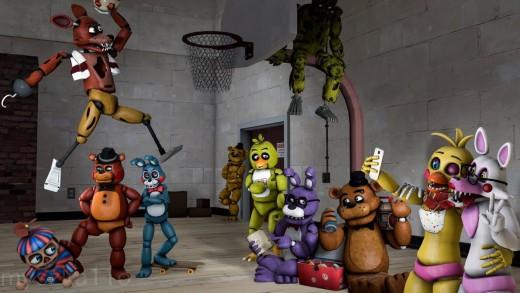 The animatronics playing basketball.