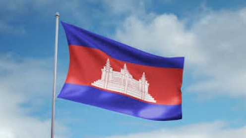 The Flag of Cambodia has a flag in the center of it and it is the only flag of its kind.