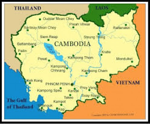 Cambodia is surrounded by several countries including Laos, Vietnam and Thailand.