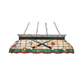 Stained glass pool table light.