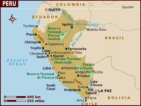 Map of Peru, Isabela Moner's Country of Descent