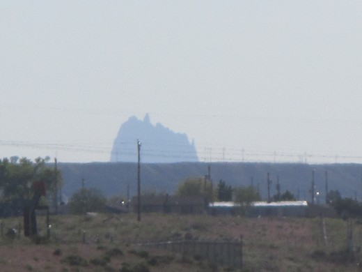 Shiprock can be seen from many miles away. This view from Farmington is over 30 miles away, photo by author