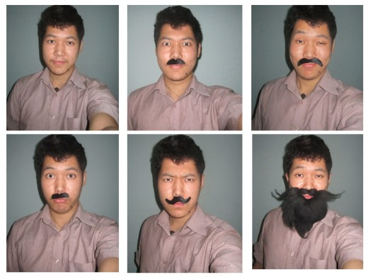 A man trying different beards with different facial appearances.