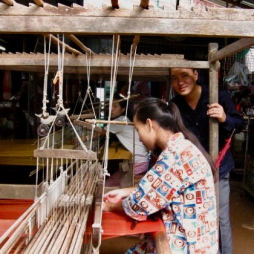 Weaving Natural Fabric in Cambodia