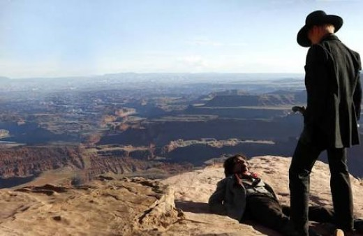 Here you see Ed Harris' character near cliffedge with another person over an amazing view of the park.