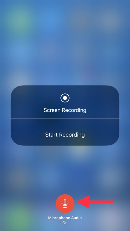 The microphone icon at the bottom of the 3D Touch menu will be red when it is set to record audio.