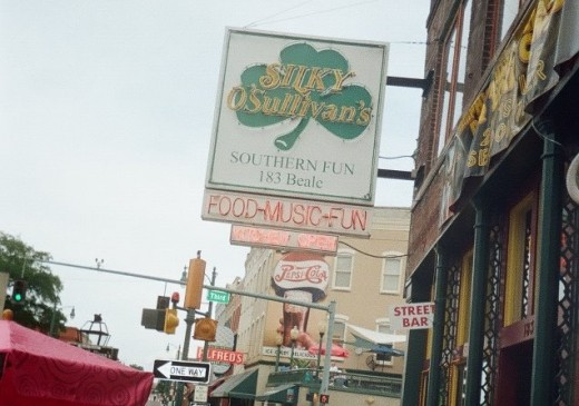 Silky's is an Irish pub on Beale in a 100 year old building with a piano, patio, and BBQ menu