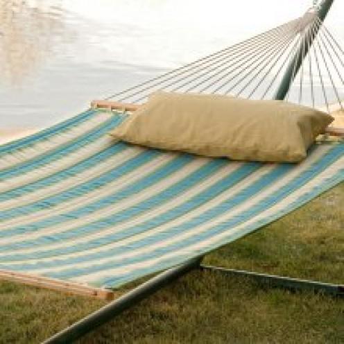 Quilted fabric garden hammock.