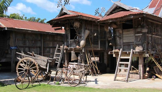 Museum buildings. There originally were grain stores, but many Thai homes were also once built on stilts such as these to protect against flooding