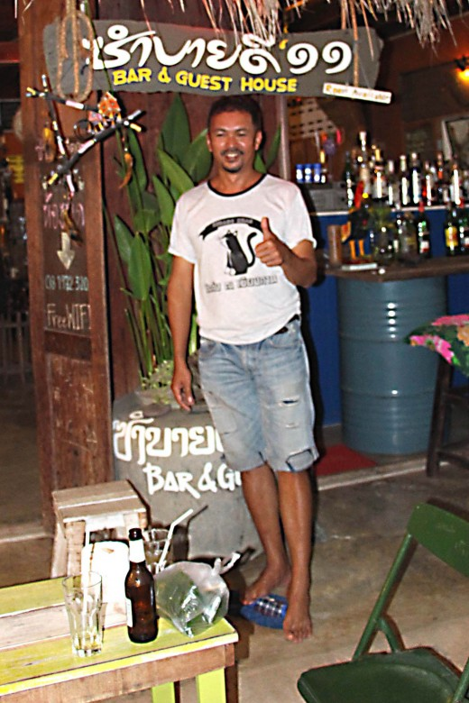 Sirt outside his bar on one of the side streets off the Walking Street