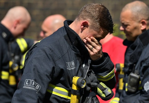 Firefighters after tackling the tragic blaze at Grenfell, in which many were sadly killed.
