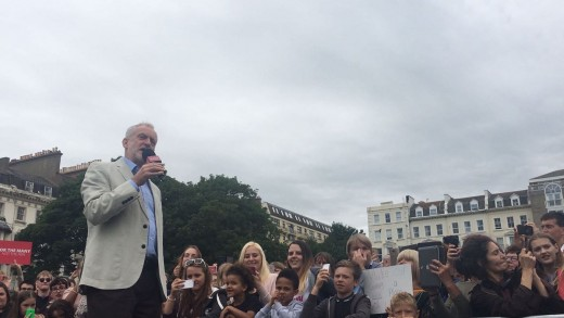 Jeremy Corbyn speaking at Amber Rudd's constituency in Hastings today.