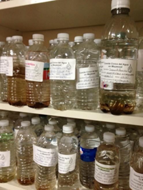 Samples of contaminated tap water