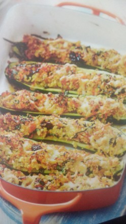 Herby Stuffed Roasted Courgettes