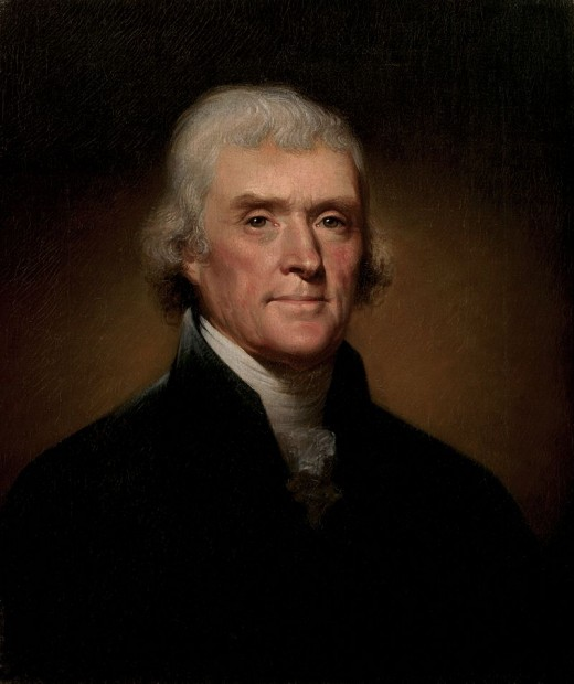 Official Presidential portrait of Thomas Jefferson by Rembrandt Peale, painted in 1800.  Jefferson made the Louisiana purchase, effectively doubling the size of the United States in the process.  He then commissioned the Lewis and Clark Expedition.