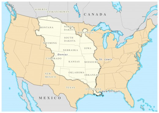 Map of the area covered by the Louisiana Purchase.  The area was largely unexplored.  Jefferson's next move was to set up an expedition to investigate the area.