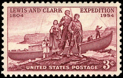 Lewis and Clark Expedition 150th anniversary issue postage stamp, produced in 1954. The expedition came to be seen as perhaps the greatest American adventure ever, with only the trip to the Moon to rival it.  The event was commemorated again in 2004.