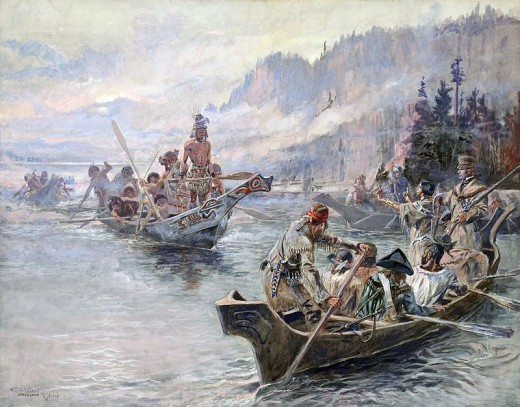 Painting by Charles Marion Russel portraying the Corps of Discovery meeting Chinooks on the Lower Columbia.  The expedition encountered many Indians on their journey, most of the encounters were peaceful.