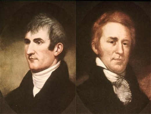 Image of Meriwether Lewis and William Clark.  Jefferson named Lewis as the leader of the expedition.  Lewis then chose Clark as his second in command.