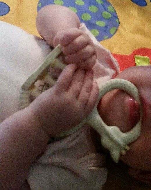 It is best to use soft, yet sturdy teething rings to help baby massage tender gums while teething.