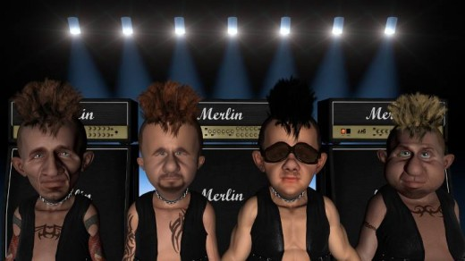 "Meet the Band. from left to right are: William ""Bing"" Billingsly, Gerry ""Bang"" Bangston, Stanley ""Crash"" Cash and Jerome ""Boom"" Bloom. that's Bing, Bang, Crash and Boom."