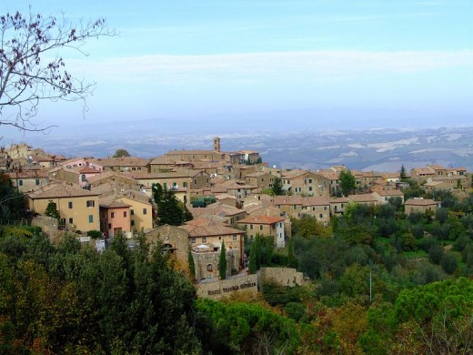 Montalcino, good for growing Vines, cold and damp in the winter, hot and humid in the summer.