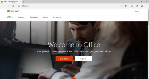 Open a Web browser on your computer, and then navigate to www.office.com.