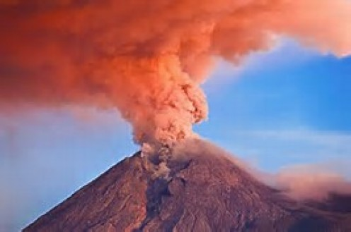 Once a volcano erupts, lava, burning hot ashes, and gas explode into the air and out onto the land.
