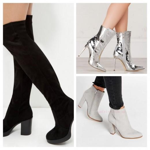 Boot Heels with velvet -look  and metallic -look.