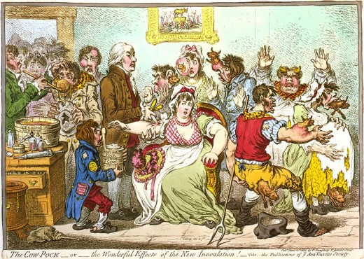 """The Cow Pock _ or _ the Wonderful Effects of the New Innoculation!"" by James Gillray"