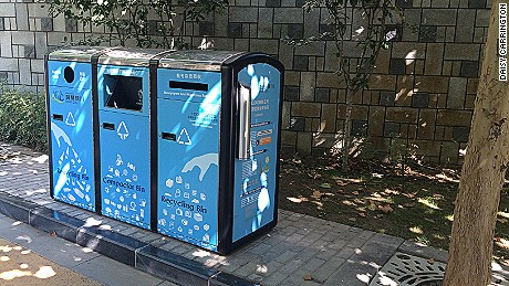 The solar panels installed on Yinchuan's numerous rubbish bins activate a waste compression and compaction mechanism
