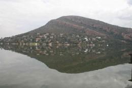Looking across the dam towards the village of Kosmos