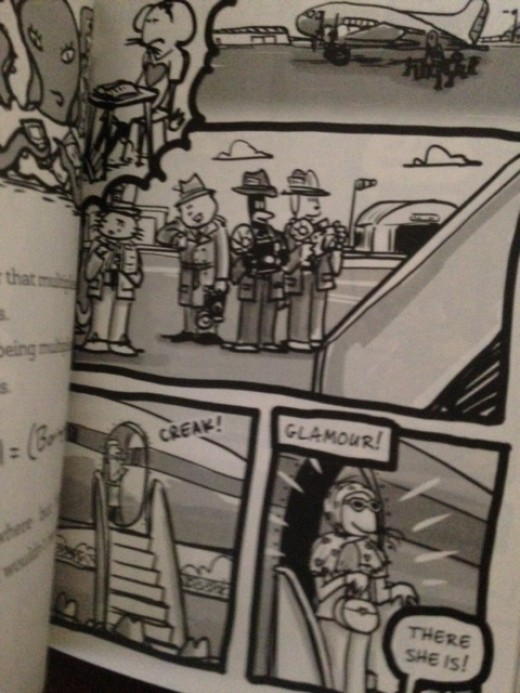 cartoon-like black and white illustrations