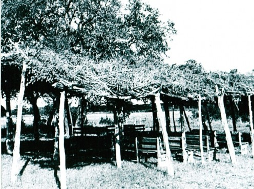 Camp meetings were normal for the time when believers met in these structures known as Brush Arbors.