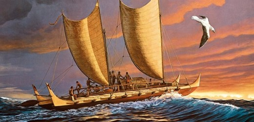 Depiction of an ancient Polynesian long distance sailing vessel.