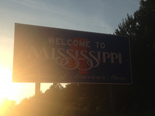 Arriving into Mississippi with the sun in our eyes.