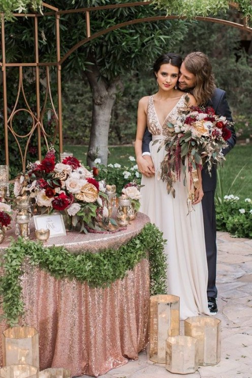a&bé designer An incredible rose gold metallic wedding styled shoot featuring a stunning Truvelle gown | Erica Velasco Photographers: