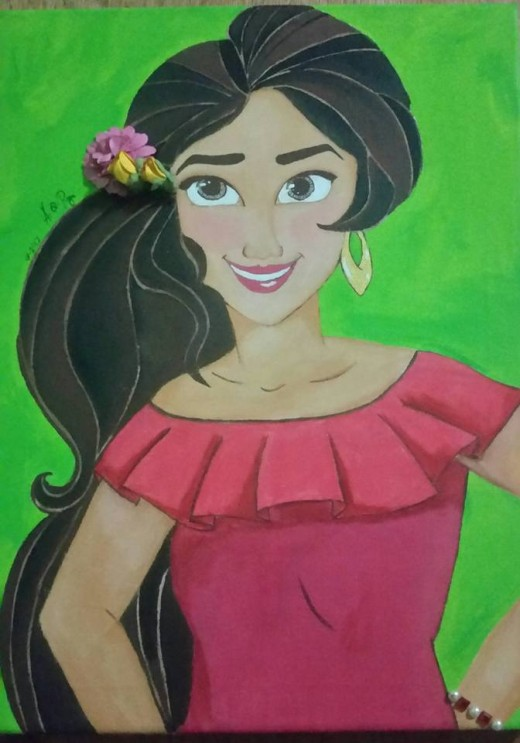 My Elena of Avalor painting. I googled the image for my reference.