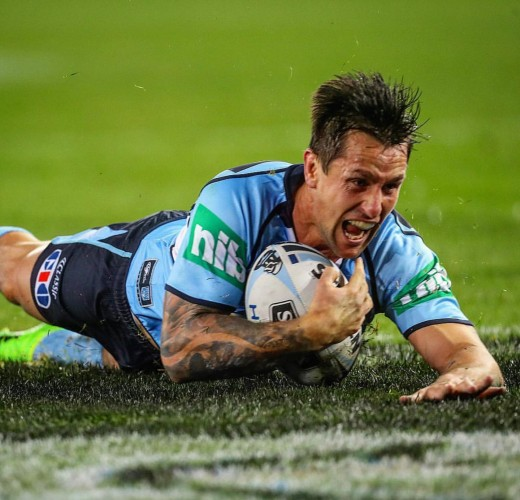Mitchell Pearce scores for NSW in Origin 2. Photo: NRL