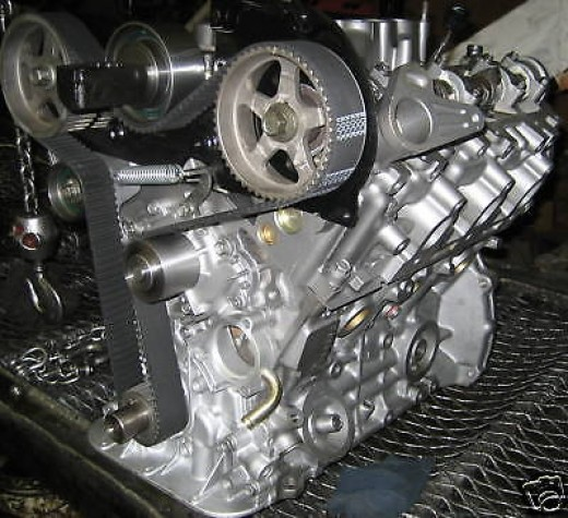Side View Of A 3VZ-FE Disassembled Long Block