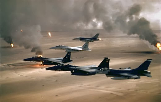 F15s during Desert Storm, burning Kuwaiti oilfield in the distance.  They were tasked with keeping Saddam out, would they be back with a vengeance?