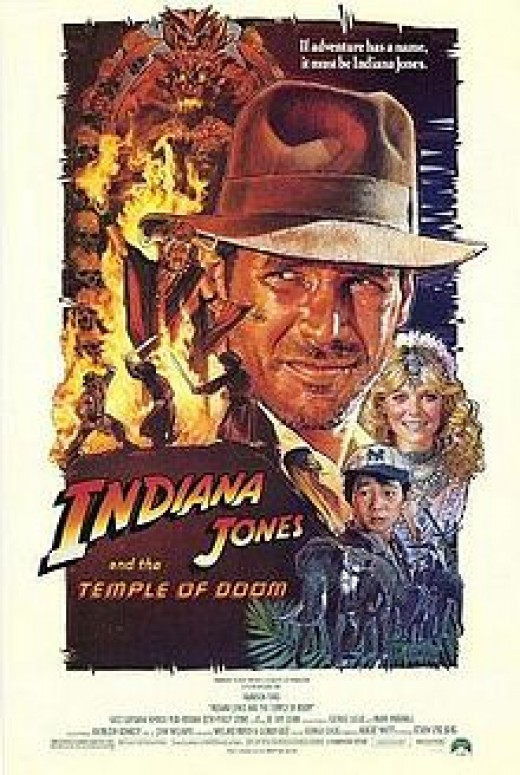 """The movie poster for """"Indiana Jones and the Temple of Doom"""" created by Drew Struzan."""
