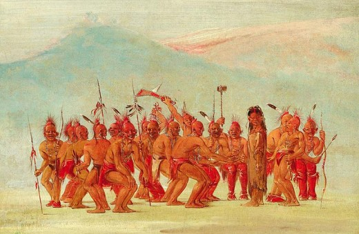 """Dance to the Berdache"" painting by George Catlin"