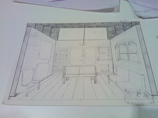 One of my own early set elevations for act one.