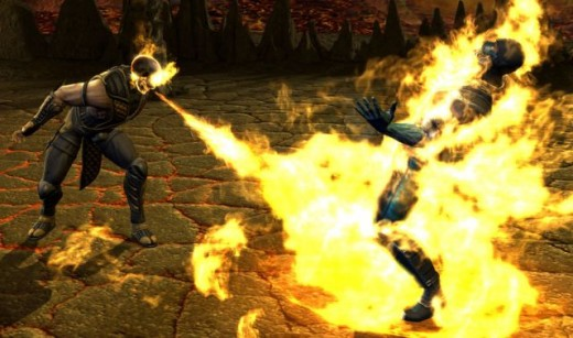 Scorpion performing his Fire Skull Fatality