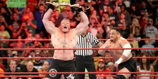 Samoa Joe attacks Brock Lesnar. Photo: WWE