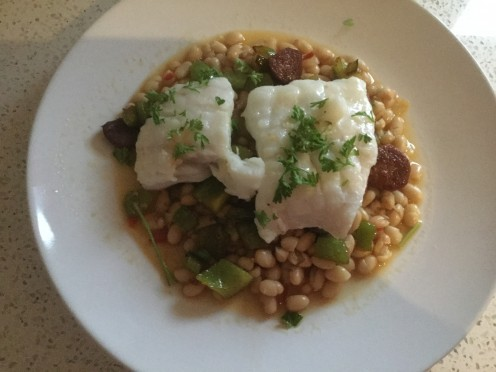 Cod With Chorizo, Peppers, and Haricot Beans in White Wine