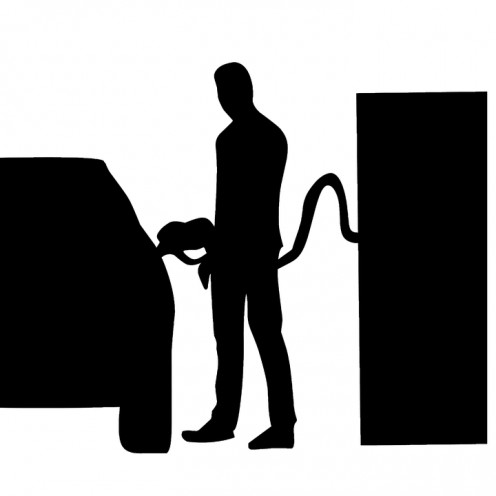 Silhouette of a time gone by: gas station attendants.